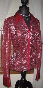 CACHE-Women-039-s-Blouse-Zip-Illusion-Shirt-Top-Elegant-Lace-Cherry-Red-Medium