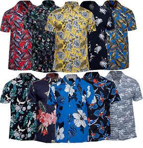 Mens-Premium-Fashion-Hawaiian-Floral-Shirt-Short-Sleeved-Casual-Cotton-S-XXL