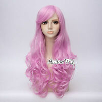 Lolita Pink Long 65cm Curly Hair Party Lady Daily Cosplay Wig + Free Cap