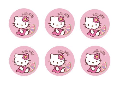 Hello Kitty 24 Tasse Gâteaux Toppers Comestibles Papier de Riz 3.75 cm Cercle Ajourées *