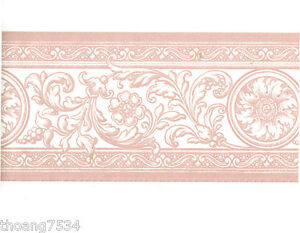 French-Damask-Pink-White-Scroll-Acanthus-Leaf-Floral-Medallion-Wall-paper-Border