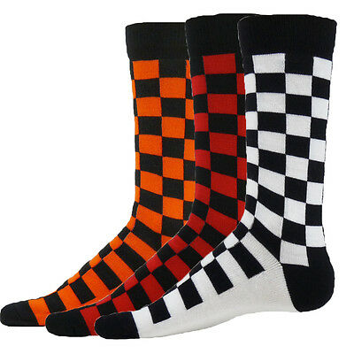 SQUARES Checkerboard Flat Knit Crew Socks mens lacrosse orange red black