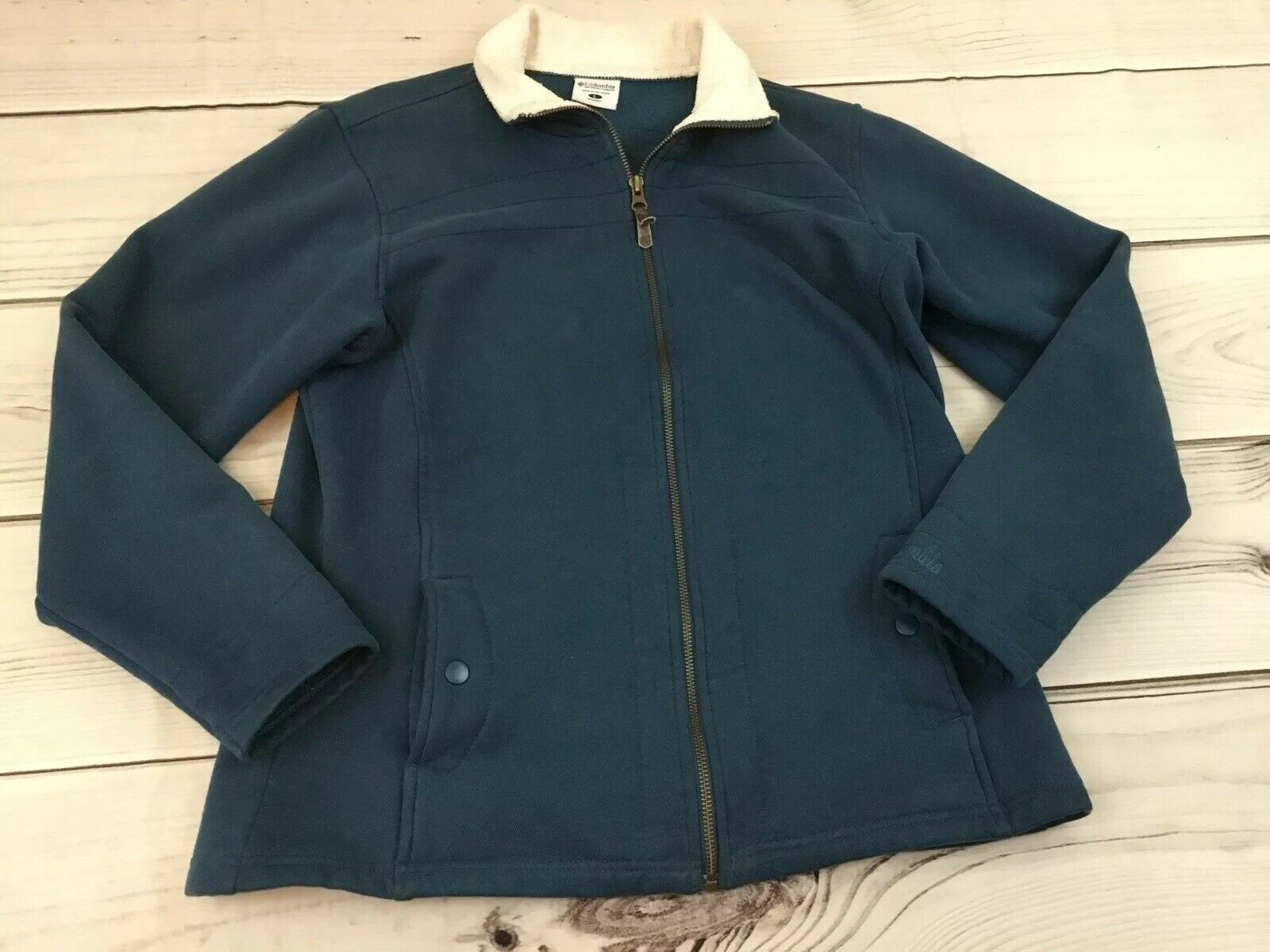 COLUMBIA Woman's Large Full Zip Jacket Teal Green 80% Cotton 20% Polyester