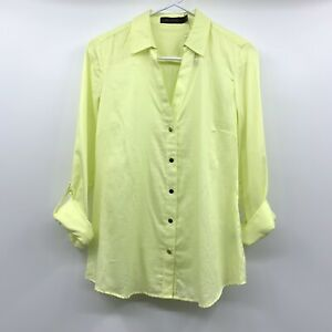 The-Limited-Button-Down-Shirt-Womens-Small-Yellow-V-Neck-Top-Long-Sleeve