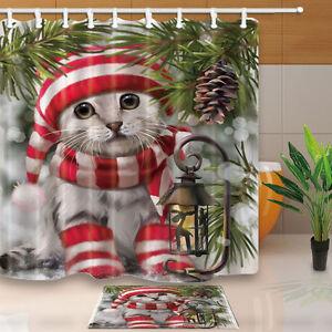 Christmas-Cat-Waterproof-Fabric-Shower-Curtain-Liner-Bathroom-Decor-Bath-Mat-Set