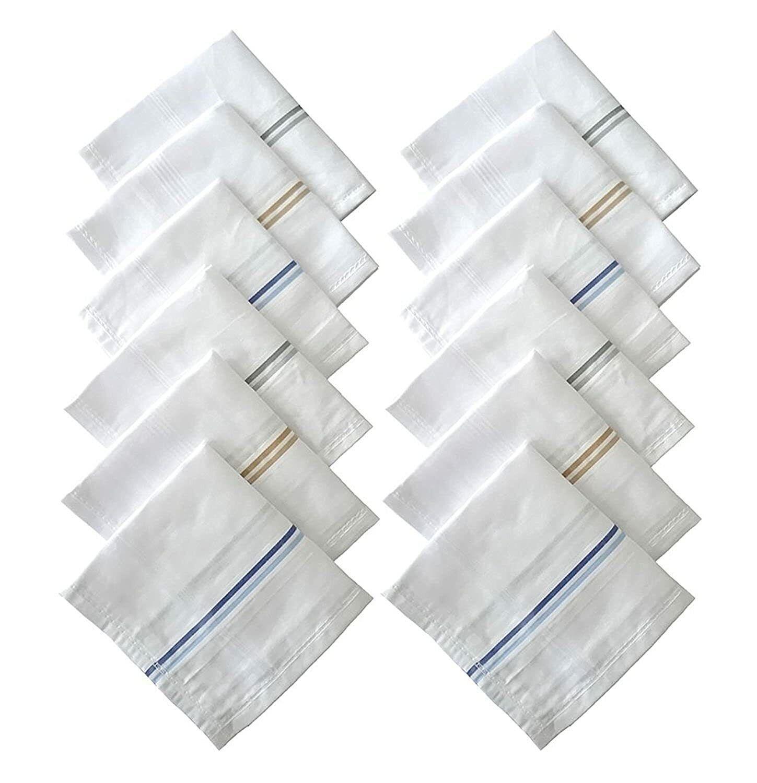100% Cotton 12pc Premium Collection Handkerchiefs Hanky For Men
