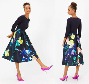 Coast Solid Bodice Floral Midi Wedding Cocktail Occasion Party Dress 6 To 18 New