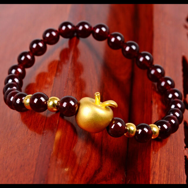 New Pure 24k Yellow Gold Le Bead With Garnet Beads Bracelet 16cm