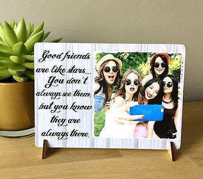 """8x6"""" Placca Personalizzato Con Foto Dell'amicizia Preventivo Migliori Amici Famiglia Nuovo-"""