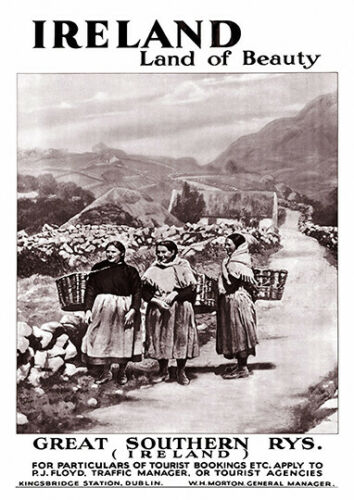 Ireland land of beauty Vintage advertising Reproduction poster Wall art.