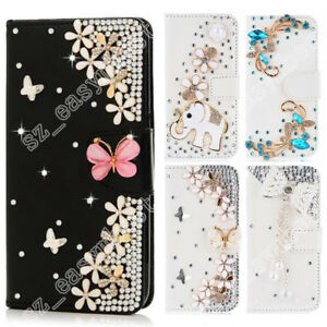 Shiny-Flip-Bling-Rhinestone-Diamond-Wallet-Case-Leather-Cover-For-Cell-Phone