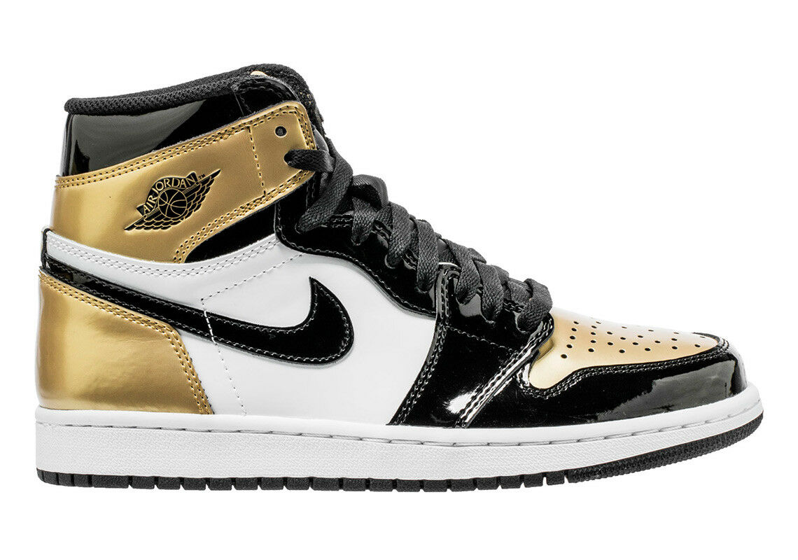 Men's Brand New Air Jordan 1 Retro High OG NRG  gold Toe  Sneakers [861428 007]