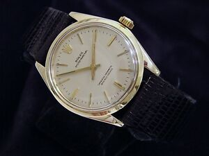 Mens-Rolex-Solid-14K-Yellow-Gold-Oyster-Perpetual-Watch-Silver-w-Black-Band