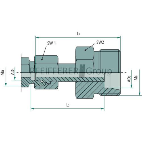 Hydraulik X-KOVV Gerade Verschraubung L-S 12 S DKO S-L X-KOVV 12 L