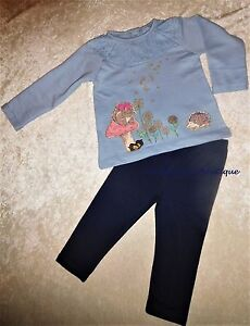 16d7d0ec3 MONSOON BABY GIRLS OLIVIA SQUIRREL HEDGEHOG BLUE TOP   LEGGINGS SET ...