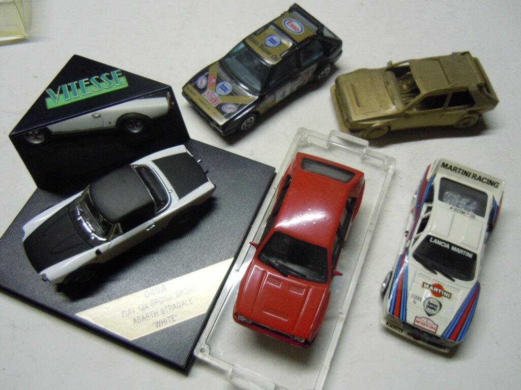 5 x rara Fiat y Lancia modelos de vitesse, Bburago y Heller 1 43