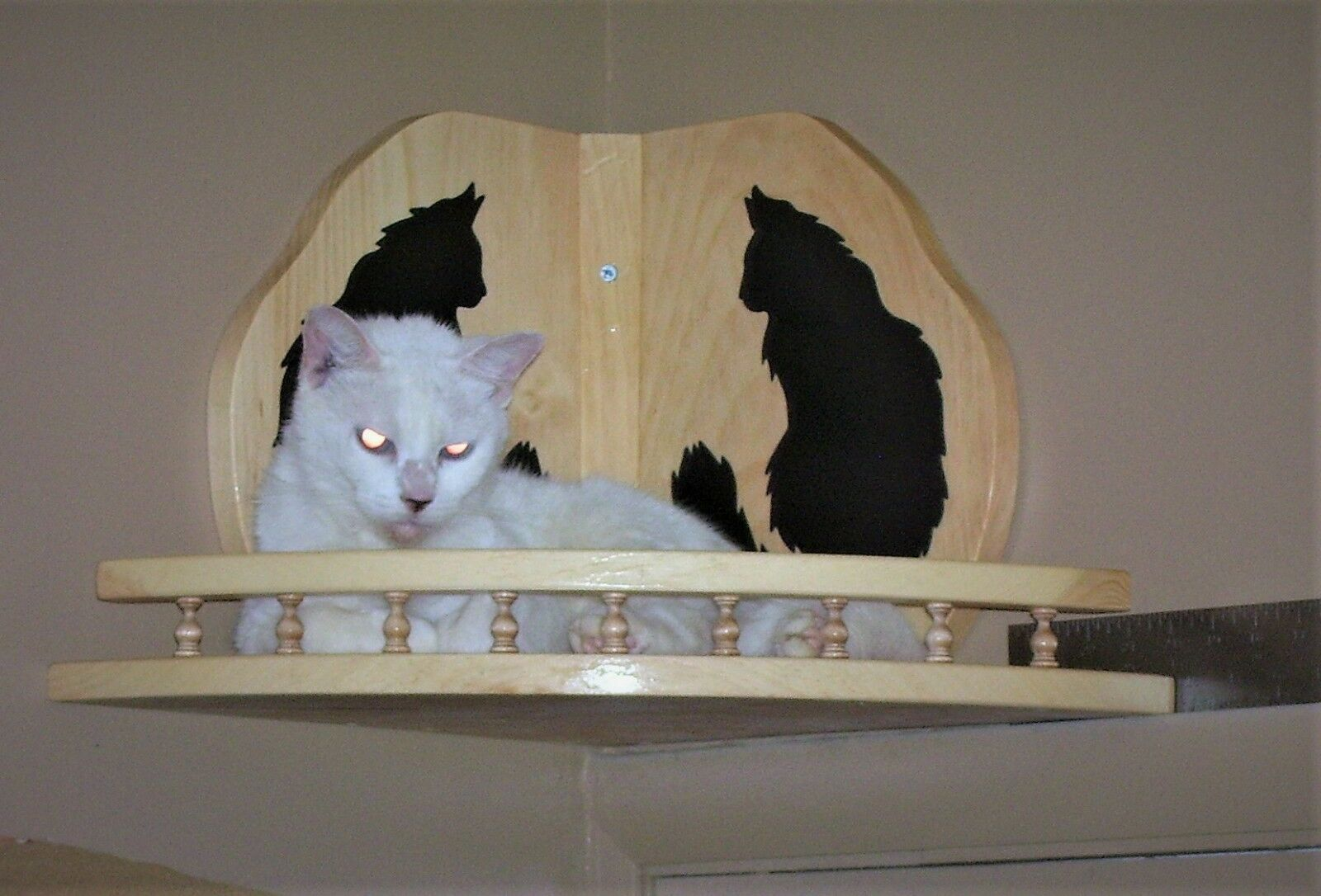 Cat Bed Hanging Wooden Corner Shelf with Gallery Rail Handcrafted Pinewood