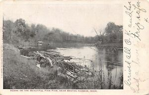 Benton-Harbor-Michigan-Paw-Paw-River-Scene-Driftwood-Covered-Dock-1905-Postcard