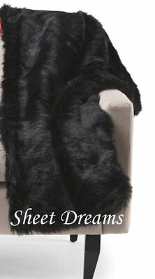 "Nicole Miller Solid Black Faux Mink Fur Throw Blanket 50"" x 60""  New Tags"