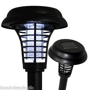 Solar LED Path Garden Lamp Spot Light UV Mosquito Insect Pest Bug Zapper Killer