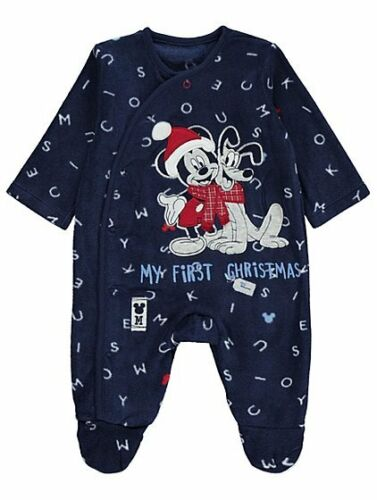 Bébé Garçons Disney Mickey Mouse et Pluto mon premier Noël Polaire Sleepsuit