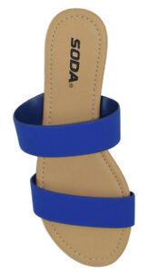 01a432a56bc Soda Shoes Women Flip Flops Flat Basic Gladiator Sandals Slide Royal ...