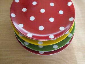 Pottery-Barn-Polka-Dots-Plate-CHLOE-8-25-inch-Red-Green-Yellow-Lovelynvin