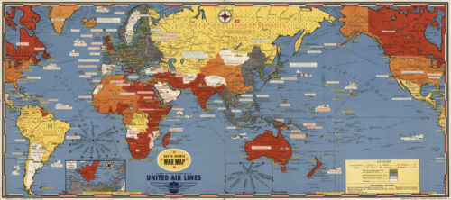 Pictorial Dated Events War Map Military WWII Historic Poster Wall Art Decor