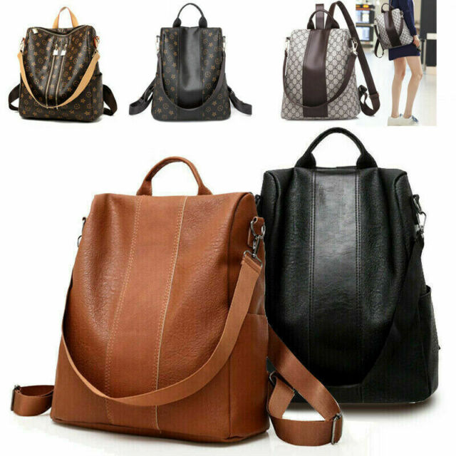 Women Anti-theft Leather School Backpack Travel Waterproof Satchel Shoulder Bag