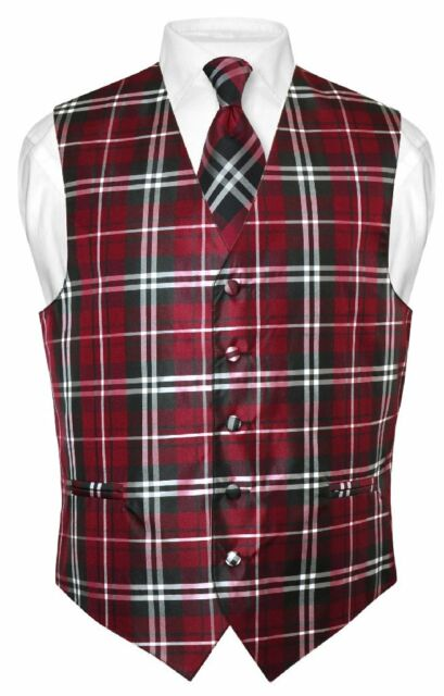 Men's Plaid Design Dress Vest NeckTie Black Burgundy White Neck Tie Set