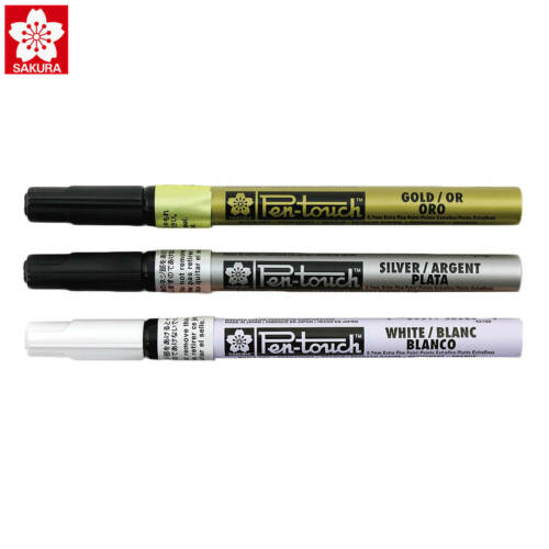 Sakura Pen Touch Paint Marker Silver,Gold,White Extra Fine point set of 3 New!
