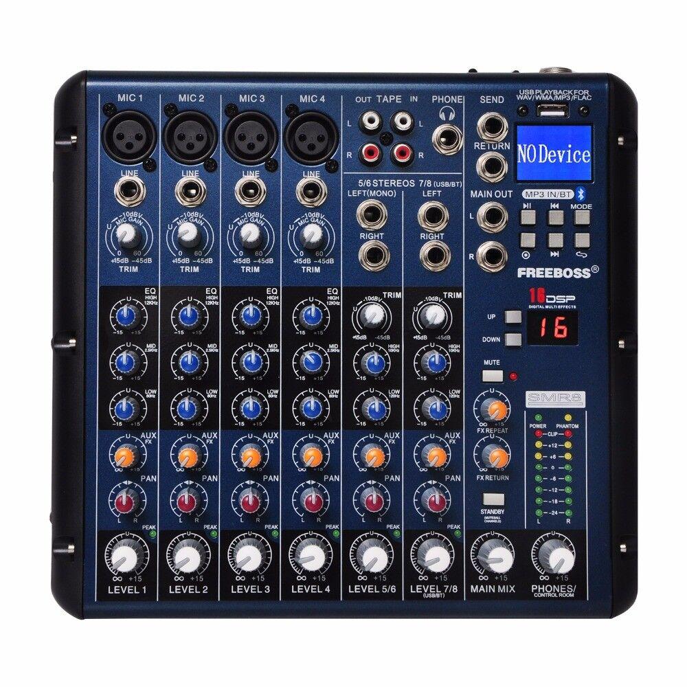 SMR8 Blautooth Record 8 Channels (4 Mono + 2 Stereo) 16 DSP USB DJ Mixer