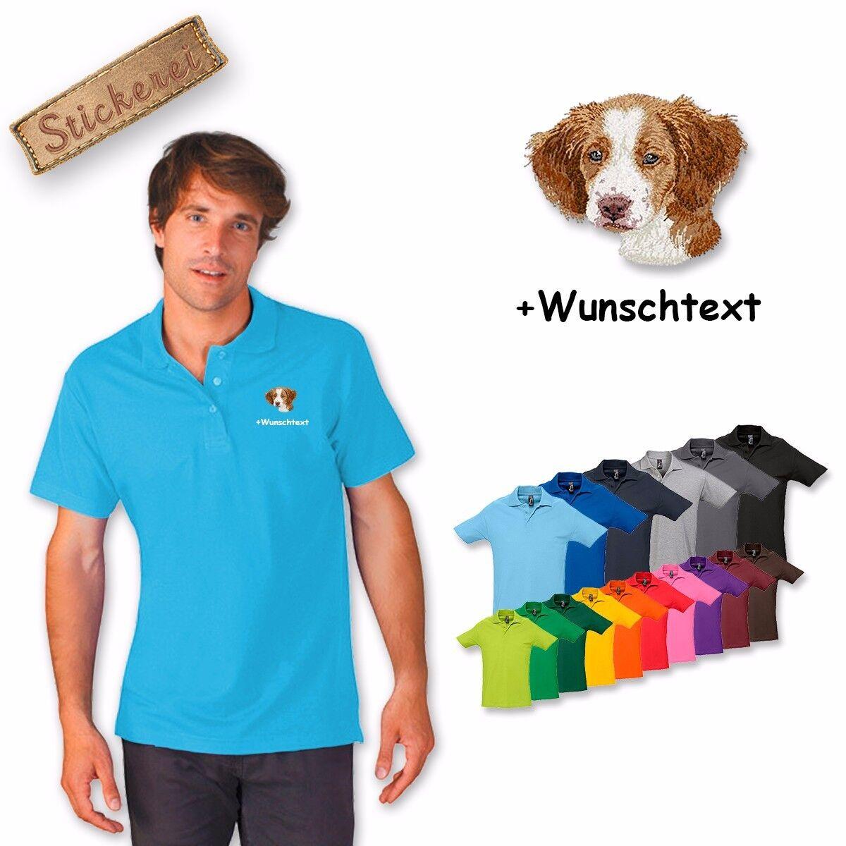 Polo Camicia Cotone Ricamato Ricamo Brittany Spaniel + Testo Personalizzato