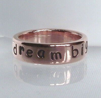 "Gorgeous Handmade Recycled Solid Copper Personalised ""dream big "" Ring any size"