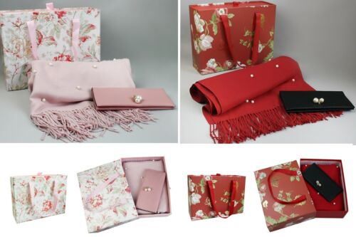 Scarf Gift Set Luxury Soft Shawl Floral Box for Ladies Party Eid Present