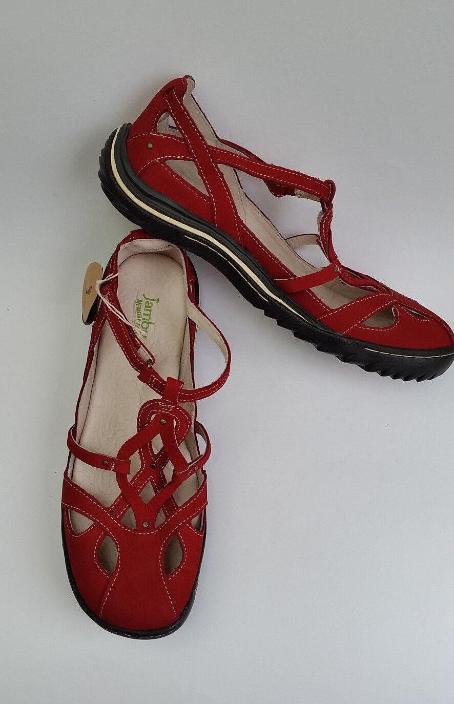 Jambu Shoes Flats SPAIN Red Crisscross Design Comfort Donna NWT Size 9.5 M