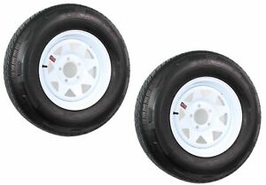 "2-Pack Radial Trailer Tire On Rim ST205/75R14 LRD 14"" 5 Lug Spoke Wheel White"