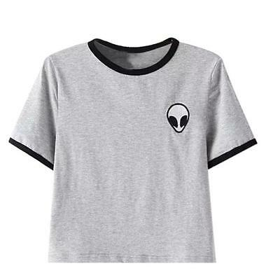 Fashion Women Summer Cotton Tee Blouse Casual Crop Top Alien 3D Print T-Shirt