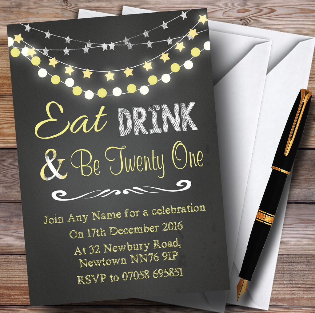 Chalk Gelb Lights 21st Personalised Birthday Party Invitations