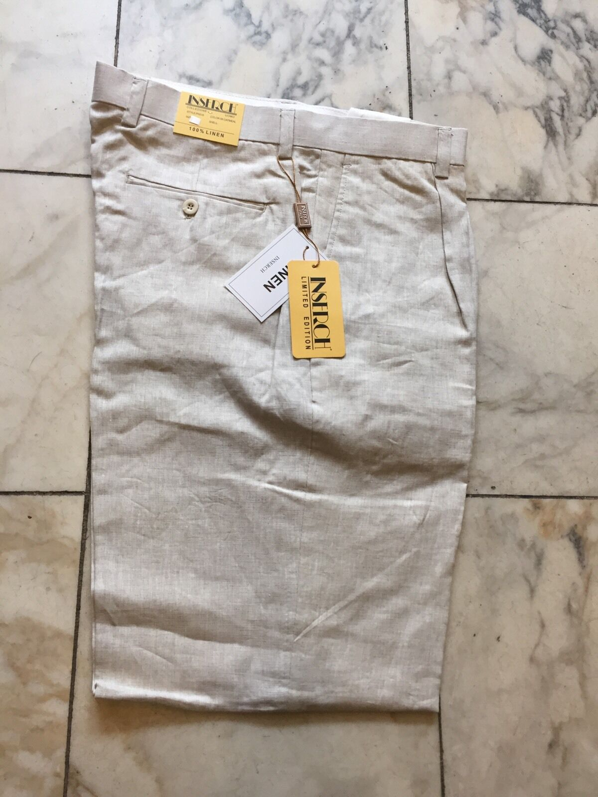 NWT INSERCH  PLEATED 100% LINEN NATURAL PANTS MENS SIZE 34