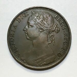 1891-Great-Britain-Penny-Queen-Victoria-KM-755-Extra-Nice