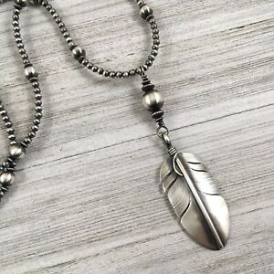 Sterling Silver Feather Necklace Native American Navajo