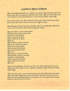 Details about Book of Shadows Spell Pages ** A Solitary Ritual of Thanks **  Wicca Witchcraft
