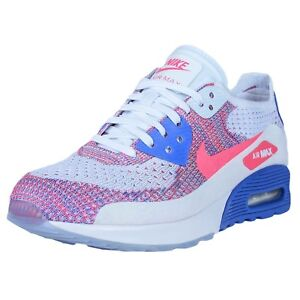 781e6d85 Details about NIKE WOMENS AIR MAX 90 ULTRA 2.0 FLYKNIT WHITE/RACER PINK-MEDIUM  BLUE 881109 103