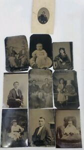 Antique-Victorian-Tin-Type-9-Photos-Lot-Baby-Children-Family