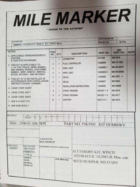 HMMWV HUMVEE M998 MILITARY TRUCK HYDRAULIC WINCH KIT HEAVY DUTY 10,500 on