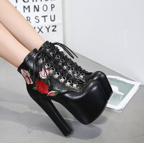 Broderie Escarpins gothiques Bottes à pour Talons mode à punk sexy Chaussures hauts la femmes lacets qSMUzpV