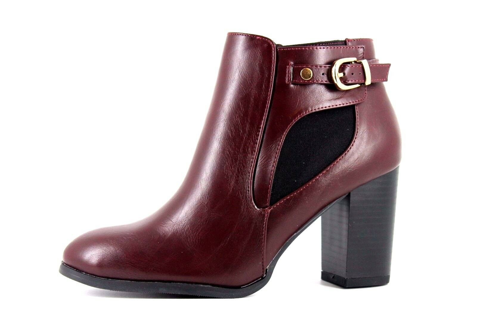 Wallis Aaliyah Womens UK 6 EU 39 Red Wine Faux Leather Zip Up Heeled Ankle Boots