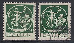 Bavaria Sc 253 used 1920 10m light green & dark green Genius, 2 diff VF