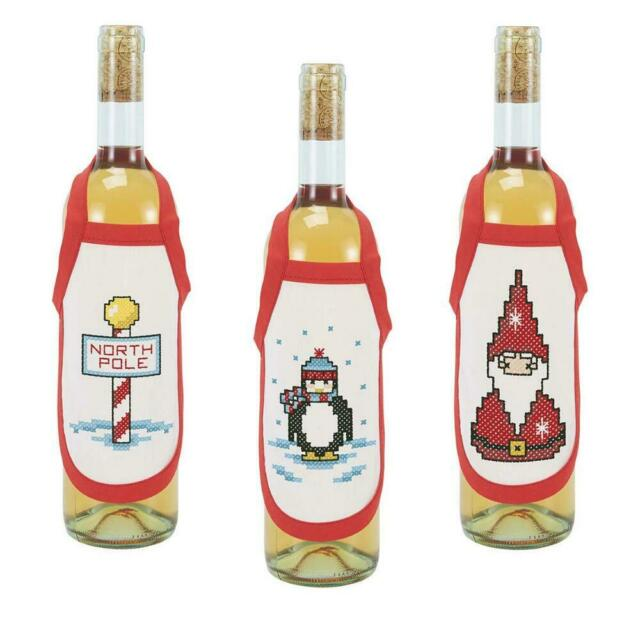 Herrschners Winter Stained Glass Bottle Aprons Stamped Cross Stitch-Set of 3-5 x
